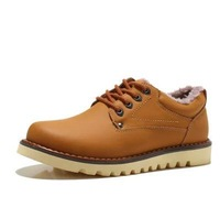 Free Shipping 2015 Tooling Shoes Winter Male Flats Low Plus Velvet Cotton-Padded Shoes Fashion Genuine Leather Casual Shoes