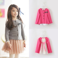 New 2015 spring and autumn girls child outerwear sweet children's clothing kids bow cardigan baby fashion lace top high quality