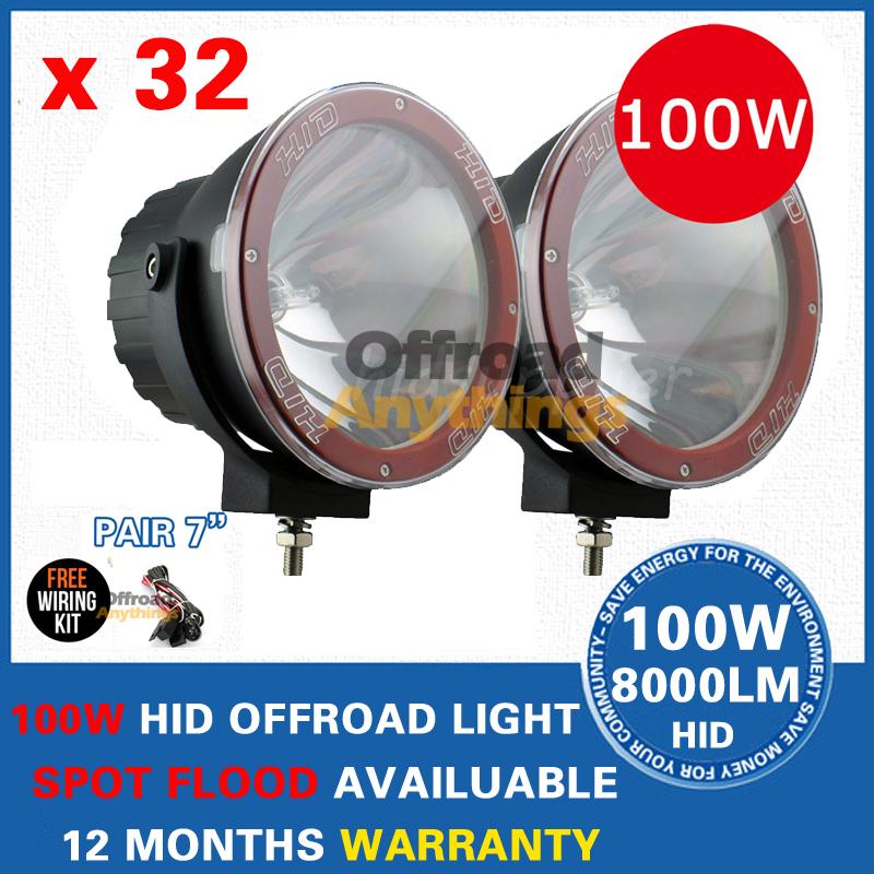 "32 Pcs 12V 35W/55W/75W/100W 7"" Spot Beam truck/Boat fog lamp ,hid driving light ,HID off road light,hid xenon work light(China (Mainland))"