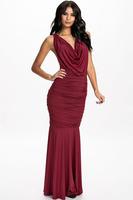 Beauty online 2015 New Sexy Sleeveless Evening Dress Vestidos Wine Cowl Neck Draped Chain Maxi Dress LC6981