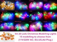 LED String lights 5m 20 Leds RGB Christmas Modelling Light, Holiday Lighting Fairy Lights Garland Decoration with EU US AU Plug