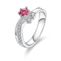 Wholesale!!Free Shipping 925 Silver Ring,Fashion Sterling Silver Jewelry red stone on heart Ring SMTR386