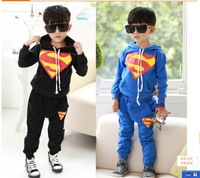 Free Shipping 2015 New Autumn superman Kids Tracksuit Boys 2-7 years Clothing Sets Toddlers Suits Hood Coat + pants Retail