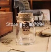 2pcs/lot Glass 100ml milk bottle pudding cork bottle yogurt bottle with lid jelly cup wishing bottle baking tools