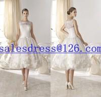 Vestido de noiva 2015 Lace Wedding Dress Tea Length vestido de renda  2015 short wedding dress