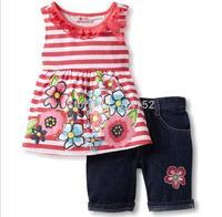2015 summer new baby Girls clothing set suit nexts children kids baby girl Printed striped shirt+denim pants 2pcs clothes sets