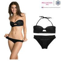 2015 Relleciga Designer Women Cute Cheap Bandage Bikini Black Beach Wear Removable Halter Straps Two Piece Sexy Swimsuit