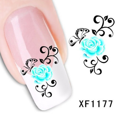 1Pcs Nail Art Water Sticker Nails Beauty Wraps Foil Polish Decals Temporary Tattoos Watermark + Free Shipping (XF1177)(China (Mainland))