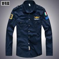 new 2014 men's spring Aeronautica militare Air Force One shirt,men brand bomber long sleeve shirts,men's causal Embroidery shirt