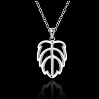 Wholesale!!Free Shipping 925 Silver Necklace,Fashion Sterling Silver Jewelry leaf hollow Necklace SMTN545
