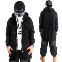 2015 New Lengthen Hip Hop Hoodies Mens Brand Cardigans Hood Zipper Coat Fashion Outerwear Overcoat Sweatshirt black HBA Pyrex