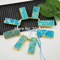 Druzy 24kt,Gold Plated Edge Turquoise Color Emperor Jasper slice pendant jewelry making 8pcs/lot