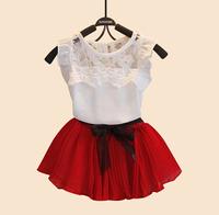 2015 New Girls Summer Vestidos Sets Fashion Kids Girls Casual Dress Children Lace Pleated Dresses Vestidos De Meninas Infantis