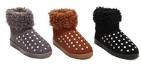 2014 Winter Women Snow Boots slip-resistant waterproof snow boots Slip on round toe rhinestone boots short boots Brown Size36