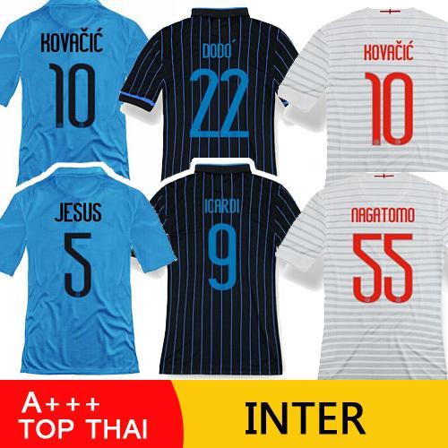 A+++ Top Thai Soccer Jersey INTERER MILANER 2015 KOVACIC 14 15 INTERER MILANER Jersey 14/15 VIDIC Maglia Home Blue White Shirt(China (Mainland))