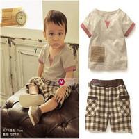 2015 baby boy clothing set t-shirt + shorts 2pcs / set summer beach casual short-sleeved plaid shorts suit Free Shipping