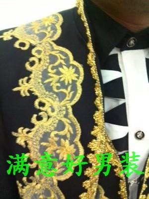 Пальто брюки разрабатывает чёрный / белый 3 частей мужчины костюм свадьба