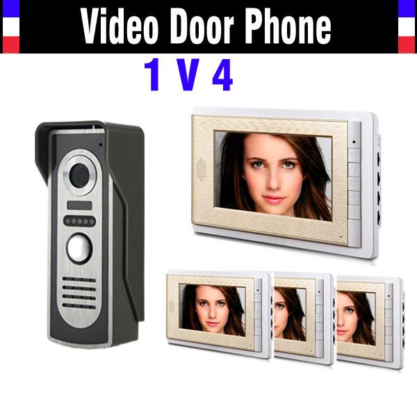 New 7 Inch Lcd Door Phone Doorbell Intercom System 1 V 4 Video Door Bell Video Doorphone Intercom Video Door Phone 4 Monitor(China (Mainland))
