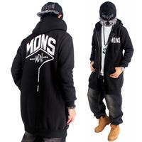 MDNS 2015 New Lengthen Hip Hop Hoodies Mens Brand Cardigans Hooded Zipper Coat Fashion Outerwear Overcoat Sweatshirt black