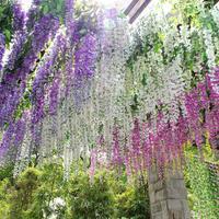 Wholesale - 2014 Hot Sale Silk Flower Artificial Flower Wisteria Vine Rattan For Valentine's Day Home Garden Hotel Wedding Decor
