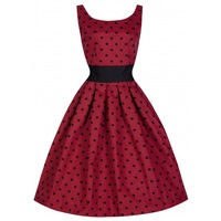 50S Pin Up Vintage Hepburn Style Women Elegant Polka Dot Swing Dress Back V Design Empire Waist Wide Girdle Slim Fit Burgundy