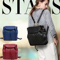 Casual vintage rivet famous multifunctional women backpacks bag  women leather shoulder bags