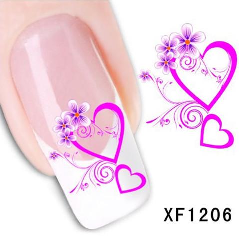 1Pcs Nail Art Water Sticker Nails Beauty Wraps Foil Polish Decals Temporary Tattoos Watermark + Free Shipping (XF1206)(China (Mainland))
