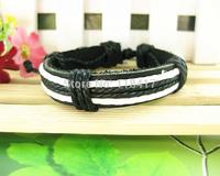 Wholesale punk style braided  leather bracelet company gift FREE SHIPPING
