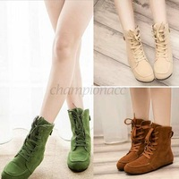 Retail Platform Shoes Ankle Women Boots Motorcycle Suede Leather Round Toe Comfortable Fashion Green/Brown/Beige 6/7/8(US) B16