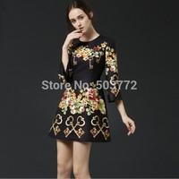 High Quality 2015 New Spring Women's Dress Black Fashion Vintage Keys Print Casual Dress Half Sleeve Knee-length Dress
