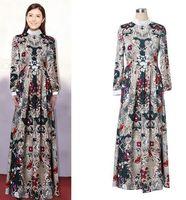 High quality 2015 new runway fashion Brand vintage ruffled collar flower print maxi long one piece dress S,M,L
