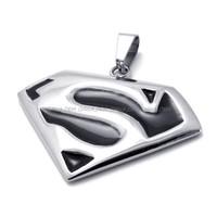 316L Stainless Steel Titanium Superman S Enameled Men's Rock N' Roll Necklace Pendant M074255
