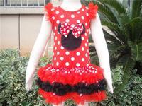 new hot selling girls short sleeve dresss kids cartoon dot tutu dress