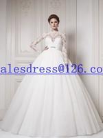 Vestido de noiva 2015 Ball Gown Wedding Dresses Long Sleeves Floor Length Cheap Wedding Dress 2015 vintage wedding dress