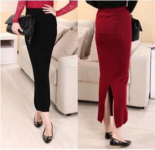 Женщины элегантный завышенная талия юбка приталенный Fit карандаш Saias сплошной длинная юбки