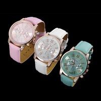 1Pcs 2015 Stylish Faux Leather Band Quartz Analog Wrist Watches Newest