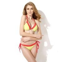 Colloyes 2015 New Sexy Greenish Yellow + Red Lace Triangle Top with Classic Cut Bottom Bikini Swimwear in Low Price Free Shiping