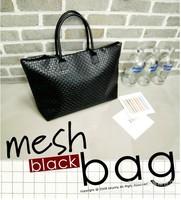 Spring summer big women's handbag black plaid woven knitted shoulder bag casual  students school bag large women shopping bag