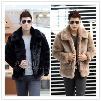 Новый 2015 зимняя мода мужчины искусственного меха куртка мягкие и удобные теплые мех кролика отложным воротником сплошной цвет шерсти пальто