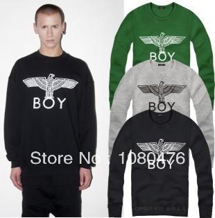 free shipping, 100% cotton boy london classic O neck hoodie eagle logo sweatshirt bigbang hip hop pullover(China (Mainland))