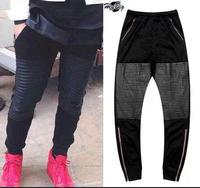 Cool Fashion Gold Zipper Knee Leg Leather Harem Sweatpants  Black and Red