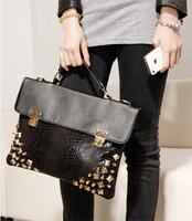 Han Edition Style Vintage Rivet Crocodile Grain Briefcase High Quality Women Handbag Black Shoulder Bags