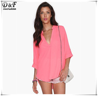 Womens Top Fashion Brand European 2015  Plain Pink V Neck Half Sleeve High Low High Street Loose Casual Simple Blouse