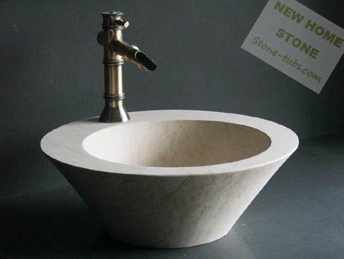 Marmeren badkamer wastafel ronde vorm badkamer wastafel beige marmer warme kleur natuurlijke - Beige warme of koude kleur ...