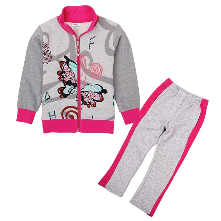 Children's shampooers jogging tracksuits sport set NOVA kids girl coat+pants kids lot baby clothing wholesale roupas infantil(China (Mainland))