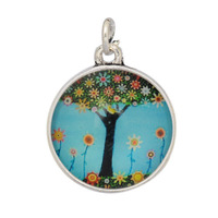 Vnistar 30pcs/lot Alex and Ani style glass flower tree image charms for alex and ani bangles AAC236