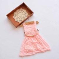 2015 spring summer new arrival girls lace floral vest dress kids princess dresses with belt white pink 852