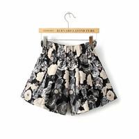 Women's Brand Ink Floral Print Shorts Women Bandage Shorts High Waist Causal Outdoor Short Cintura Alta bermuda feminina