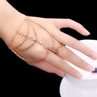 Fashion Celebrity Multi Chain Tassel Bracelets Slave Finger Ring Hand Harness multilayer white crystal Mosaic Bangle Gold 043F