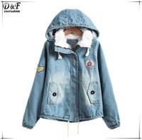 Designer Hooded Bleached Zipper Pockets Crop Overcoats Winter 2015 Women Fashion Brand Blue Long Sleeve Warm Denim Coat